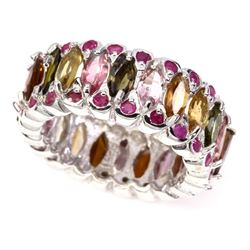 Natural Marquise Fancy Tourmaline & Ruby Ring