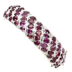 Natural Raspberry Rhodolite Garnet 206.20 Ct Bangle