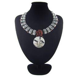 Natural Multi-Color Stone Diamond Polished Necklace