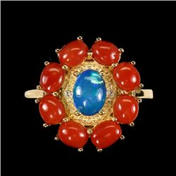 Natural Oval Blue Fire Opal & Italian Coral Ring