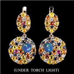 Natural Untreated Opal & Sapphire Earrings