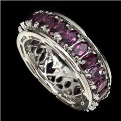 Natural Rich Pink Raspberry Rhodolite Garnet Ring