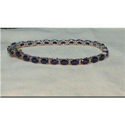 Natural Royal Blue Sapphire & Diamond Gold Bracelet