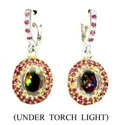 Natural Handmade Rainbow Black Opal & Red Ruby Earrings