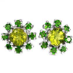 NATURAL GREEN PERIDOT & CHROME DIOPSIDE Earrings