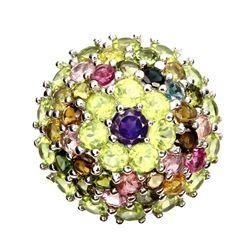 Natural Purple Amethyst Peridot Fancy Tourmaline Ring