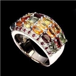 Natural Fancy Color Sapphire & Ruby  Ring