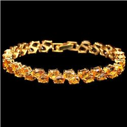 NATURAL ORANGISH YELLOW CITRINE PEAR Bracelet