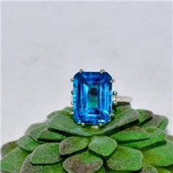 BREATHTAKING NATURAL 9.87 CT SWISS TOPAZ RING