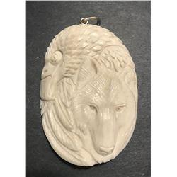 Hand Carved Antler Eagle & Wolf Pendant
