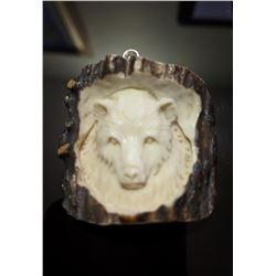 Hand Carved Antler Bear Pendant