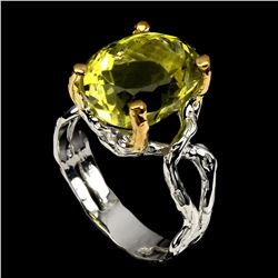 Natural Handmade Two Tone Yellow Lemon Quartz Ring