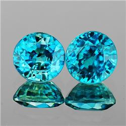 Natural Intense Greenish Blue Zircon Pair - FL