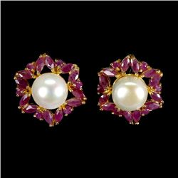 Natural Pearl & Marquise Red Ruby Earrings