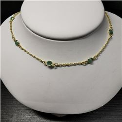 Silver Emerald(4.5ct) Necklace (~length 18''inches), Made in Canada, Suggested Retail Value $400 (Es