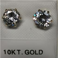 10K Yellow Gold Cubic Zirconia(6.5 MMct) Earrings, Made in Canada, Suggested Retail Value $240 (Esti
