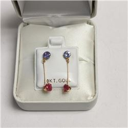 10K Yellow Gold 2 Tanzanite(0.55ct) Ruby(0.52ct) Earrings, Made in Canada, Suggested Retail Value $6