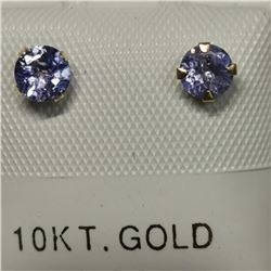 10K Yellow Gold Tanzanite(0.54ct) Freshwater Pearl(2 IN 1 ct) Earrings, Made in Canada, Suggested Re