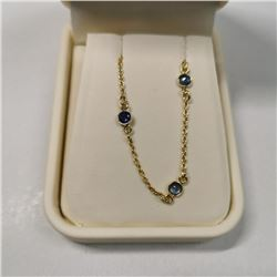 Silver Blue Sapphire(5ct) Necklace (~length 18''inches), Made in Canada, Suggested Retail Value $400