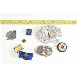 7 Nazi Metal & Cloth Badges & Pins