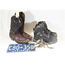 Two Pair Boots Size 10, Spurs & Ontario Plate