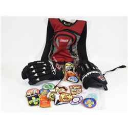 """Hockey Gloves 15"""", Coleman Pack and Scout Patches"""