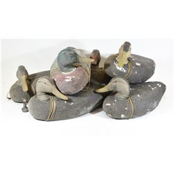 Six Foam Duck Decoys with Five Weights