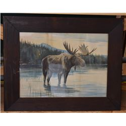 Moose Painting in Rustic Wooden Frame