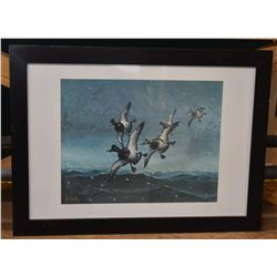 BlueBill Ducks in Snowstorm Print by Les C. Kouba