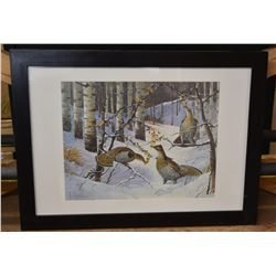 Three Roughed Grouse Winter Print by Les C. Kouba