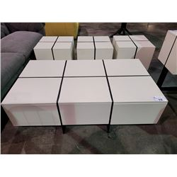 "2 DOOR COFFEE TABLE APPROX. W 30.5"" L 54"" H 18.5"" & 3 SIDE TABLES APPROX. W 20"" L 20"" H 20.5"""