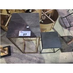 "2 SIDE TABLES APPROX. W 12"" L 12"" H 30"" & W 12"" L 12"" H 15"""