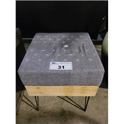 "CUSHIONED STOOL APPROX. W 15"" L 15"" H 18.5"""