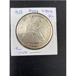 1853 US SEATED LIBERTY SILVER DOLLAR