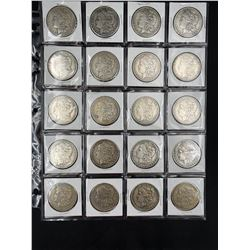 SHEET OF 20 MORGAN SILVER DOLLARS