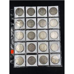 SHEET OF 20 MORGAN SILVER DOLLARS