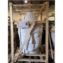 "SERENE WHITE BUDDHA HEAD NW 60KG GW 76KG APPROX. H 52"" W 27"""