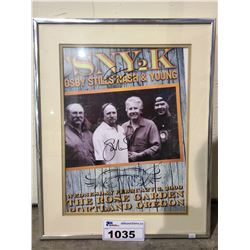 FRAMED CSNT2K CROSBY STILLS NASH & YOUNG AUTOGRAPHED POSTER
