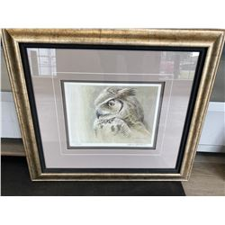 FRAMED LIMITED EDITION PRINT BY ROBERT BATEMAN TITLED SAMANTHA GREAT HORNED OWL WITH CERTIFICATE OF