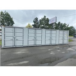NEW 40' HC MULTIDOOR CONTAINER, 4 SIDE OPEN DOORS, ONE END DOOR, LOCK BOX, SIDE FORKLIFT POCKETS