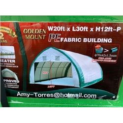 NEW GOLDEN MOUNT 300GSM PE PEAK STORAGE SHELTER 20'X30'X12' PEAK ROOF FRAME DAMAGED PACKAGING BOX