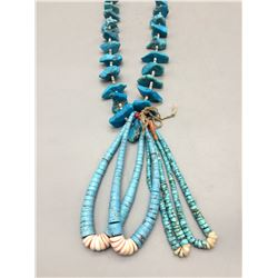 Vintage Turquoise and Heishi Necklace with Jocla