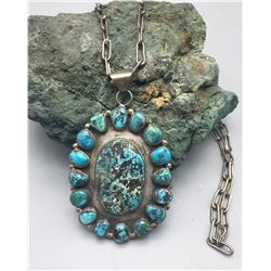 Turquoise Necklace With Handmade Chain
