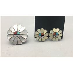 Zuni Inlay Ring and Earrings