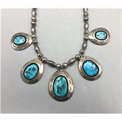 Sterling Silver and Turquoise Necklace by Teddy Goodluck