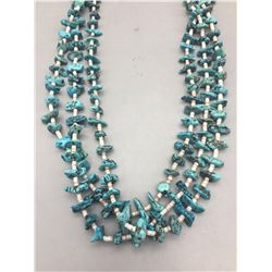 Three Strand Heishi and Turquoise Necklace