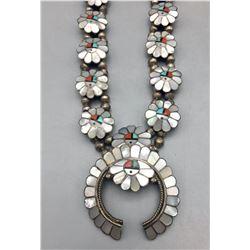 Vintage Zuni Inlay Squash Blossom Necklace