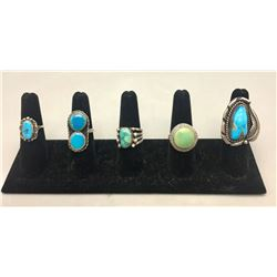 Five Vintage Turquoise Rings