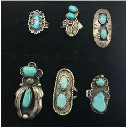 Six Vintage Turquoise Rings