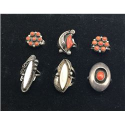 Six Vintage Rings Coral and Mother of Pearl